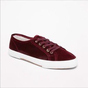 Sherpa Lined Velvet Sneakers